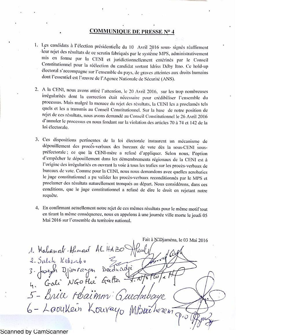 Urgent/Tchad: les candidats à la présidentielle appellent à la ville morte le 05 mai 2016