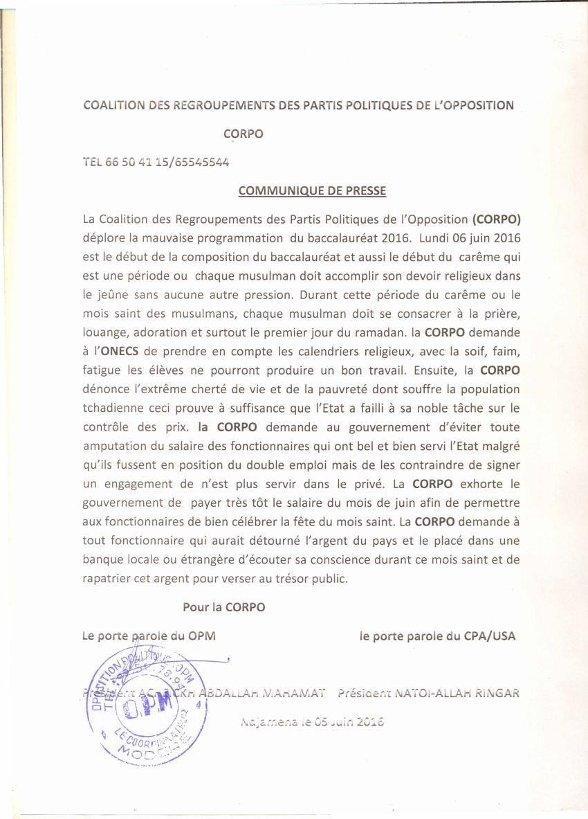 Tchad: l'organisation du Baccalauréat au mois du ramadan inquiète la CORPO