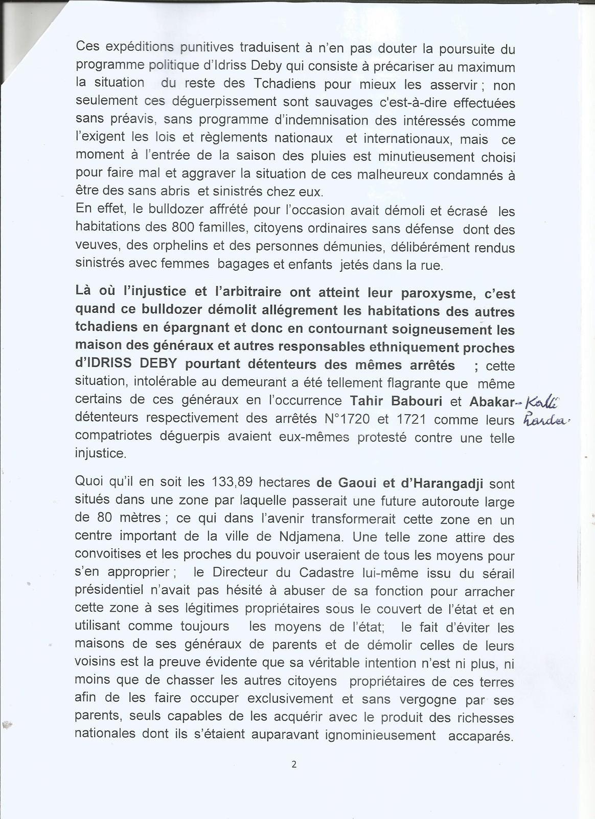 Tchad: communiqué conjoint de la C.T.D.D.H et de la Commission foncière de Gaoui pour la justice