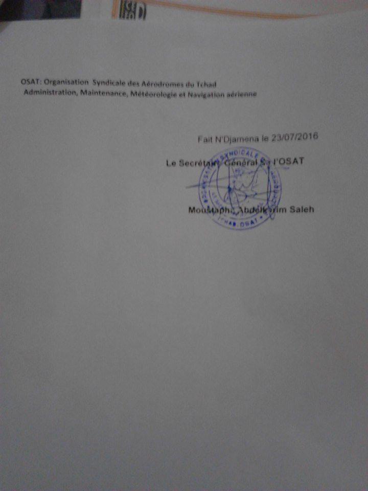 Appel à une grève illimitée au Tchad: l'OSAT tient pour responsable Ahmat Hassan Orozi des conséquences qui en découleront