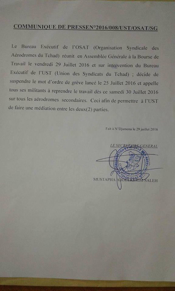 Tchad: l'OSAT appelle à la médiation de l'UST