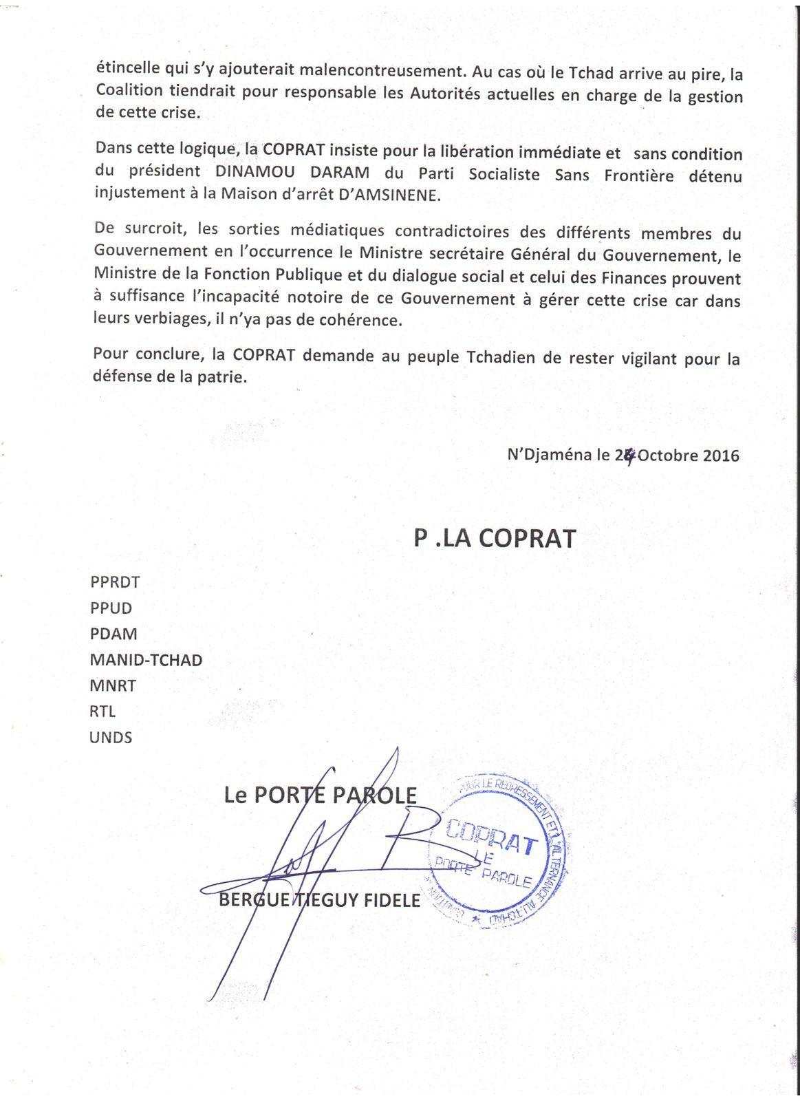 Crise sociale au  Tchad: la COPRAT met en garde le Gouvernement