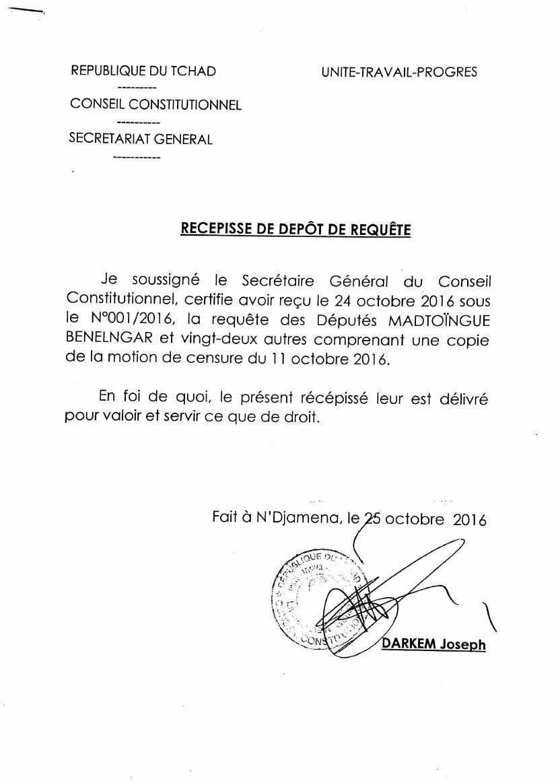 Motion de censure au Tchad: voir la requête des députés tchadiens auprès du Conseil Constitutionnel