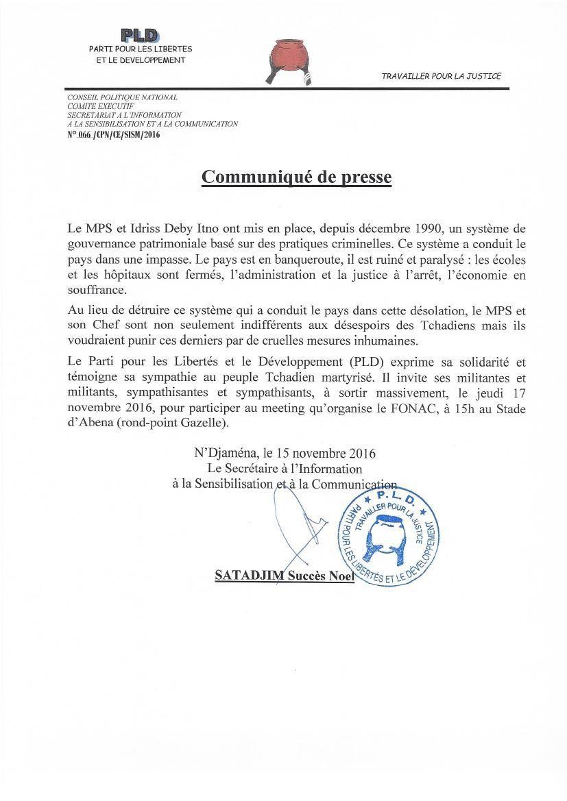 Meeting du 17 novembre 2016: le PLD exprime sa solidarité et témoigne sa sympathie au peuple tchadien martyrisé