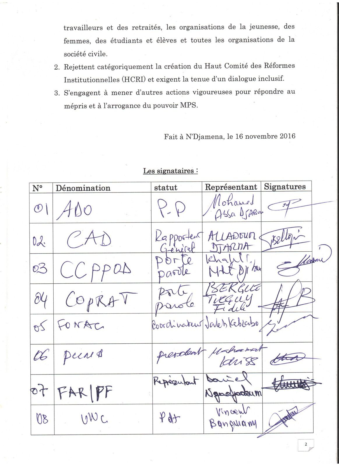Une nouvelle coalition de l'opposition se mobilise au Tchad