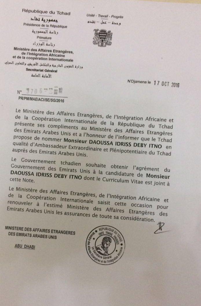 Du favoritisme dans la diplomatie tchadienne : Daoussa Idriss Deby Itno propulsé  Ambassadeur aux Emirats Arabes Unis