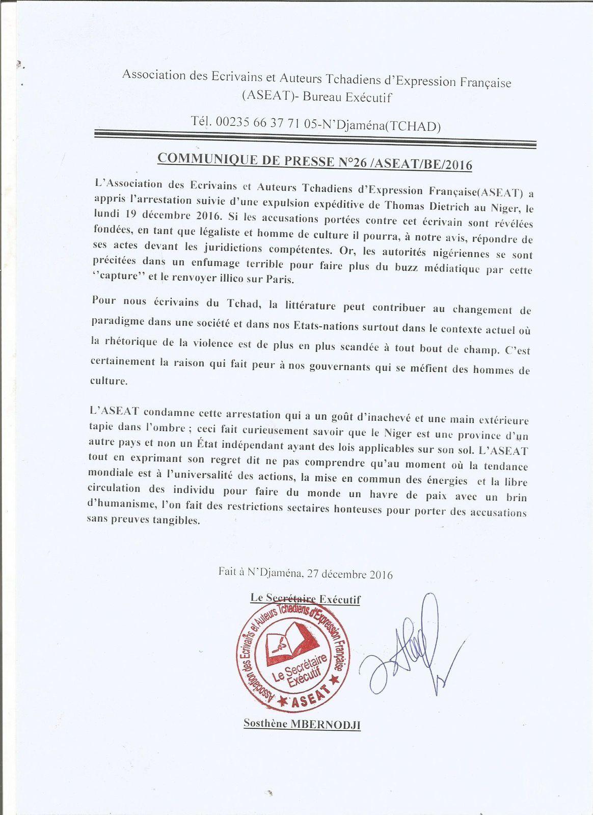 Les écrivains tchadiens dénoncent l'expulsion du Niger de Thomas Dietrich