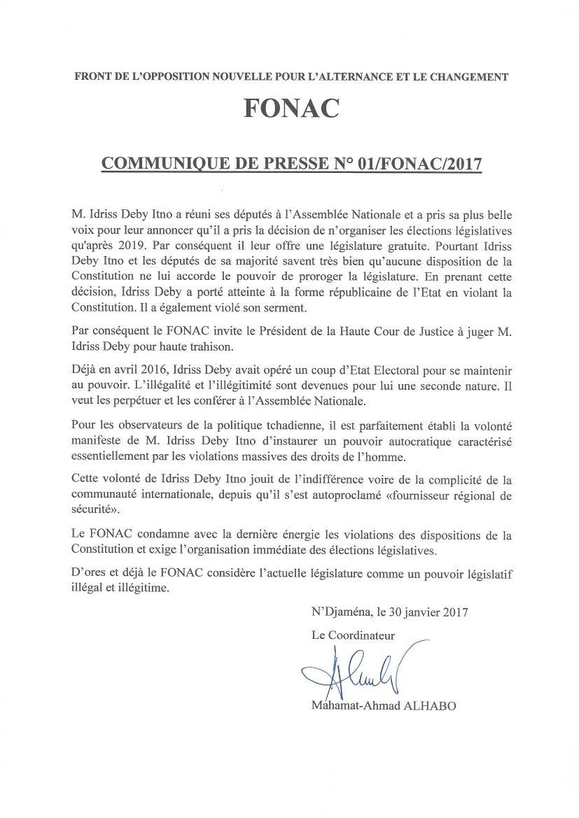 Face à la décision unilatérale d'Idriss Deby de repousser les législatives au Tchad: le FONAC s'oppose et appelle à la mobilisation