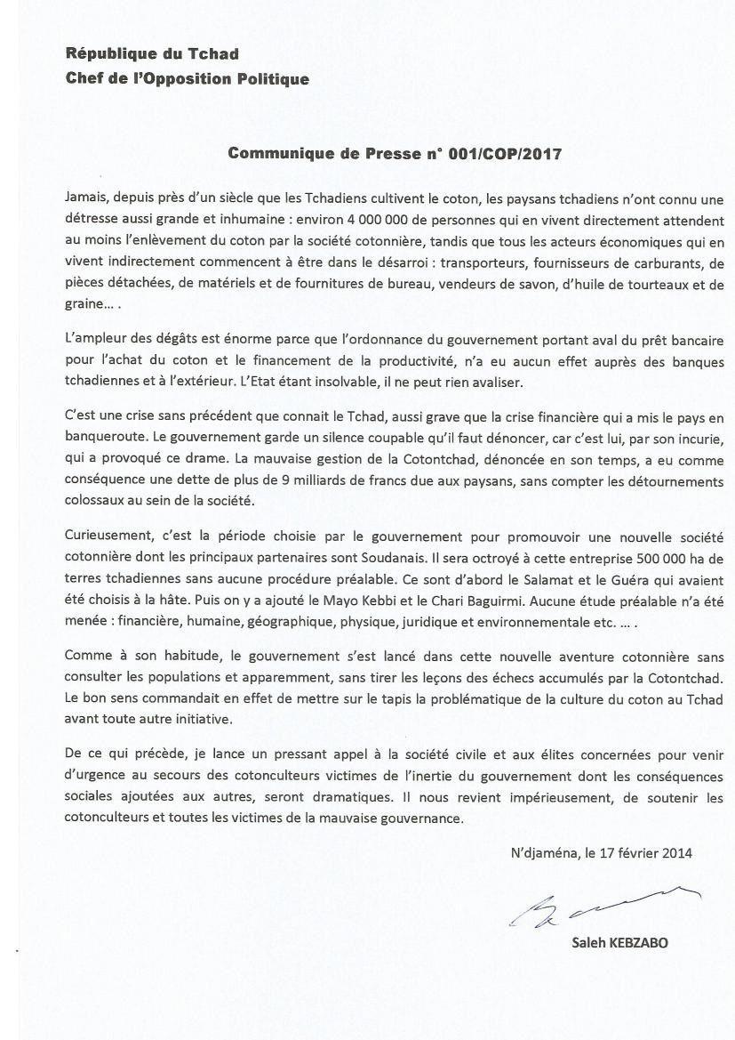 L'appel du chef de file de l'opposition au Tchad à la société civile.