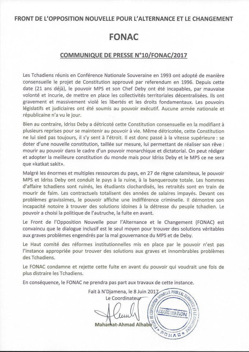 Réformes institutionnelles au Tchad: : le FONAC refuse de cautionner ces initiatives portées par le MPS et