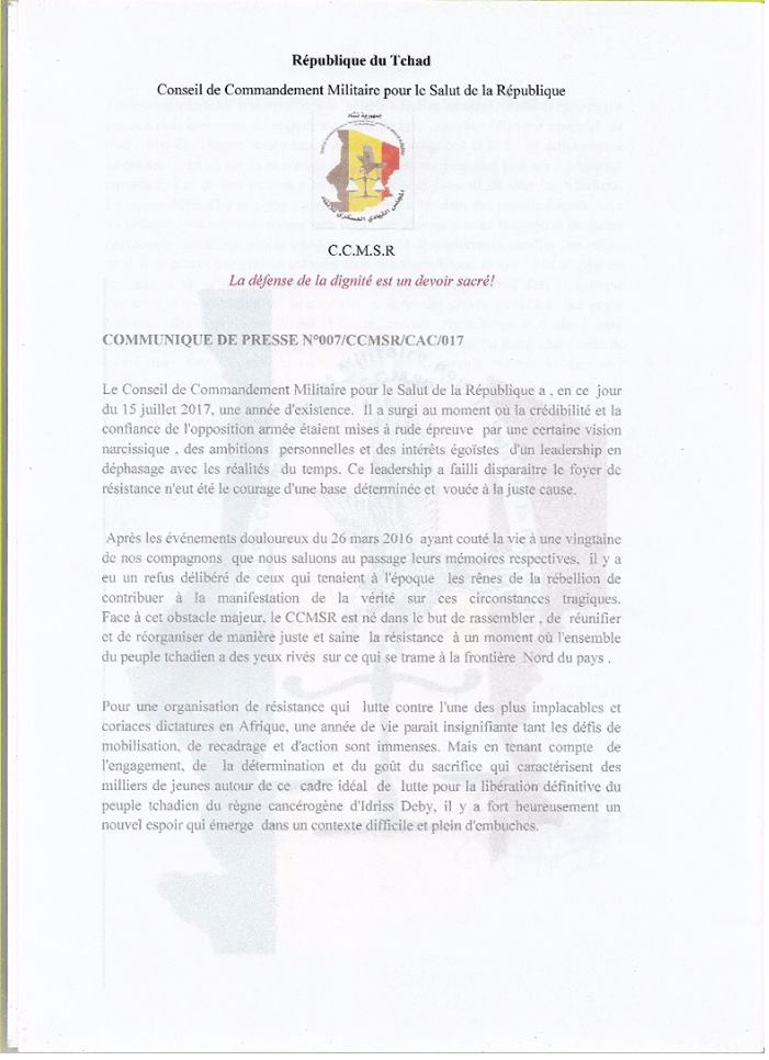 Tchad: vibrant appel du Conseil  de Commandement Militaire pour le Salut de la République (CCMSR)