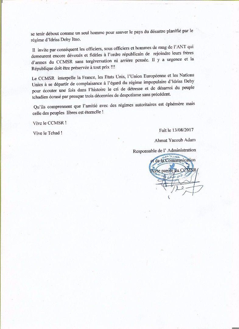 Politico-militaire: le CCMSR réorganise la résistance au Tchad