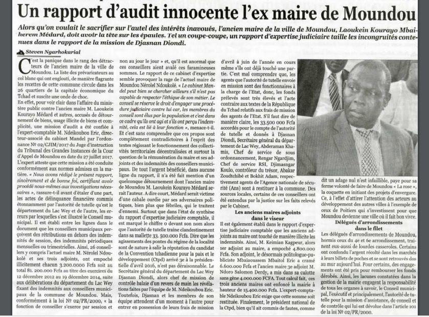 L'ex-Maire de Moundou innocenté par un rapport d'audit