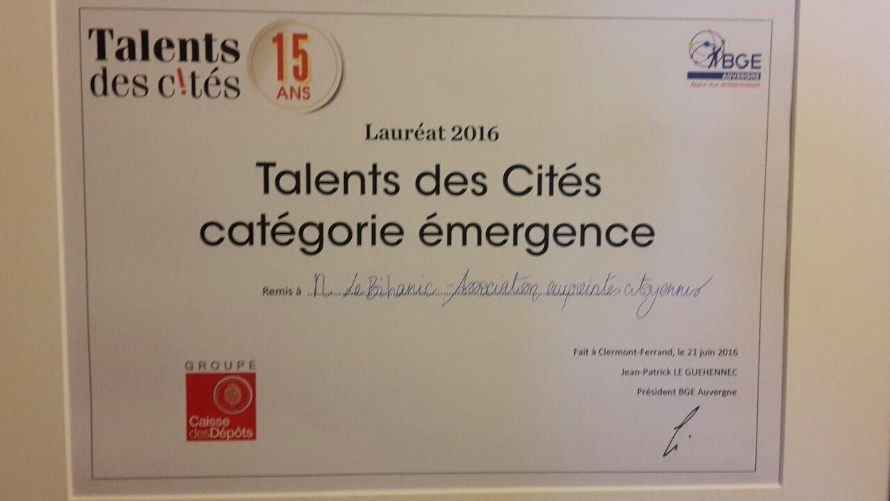 Empreintes Citoyennes lauréate du concours Talents des Cités!!!