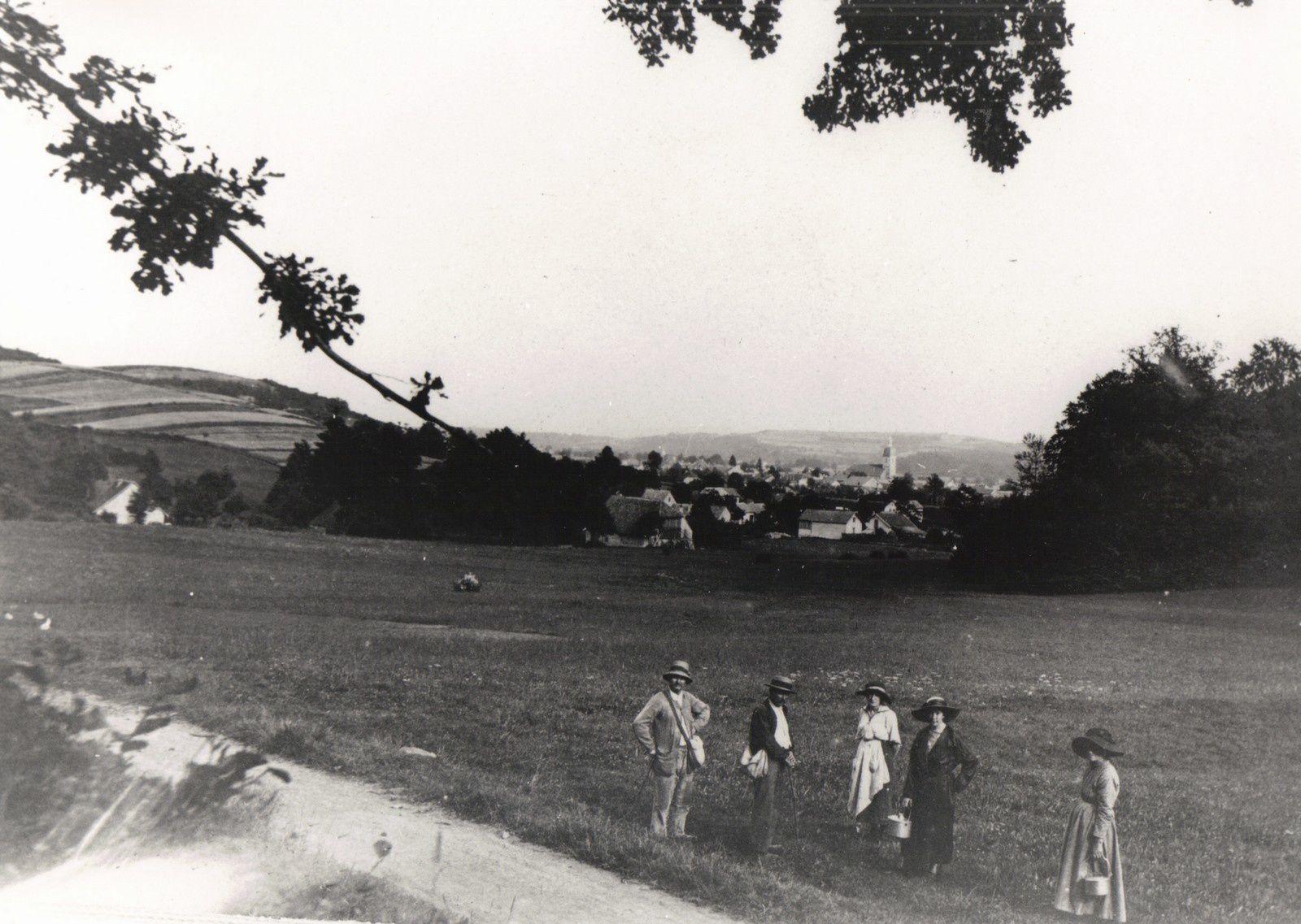Les Mozer au Chevanel vers 1908, aux mûres semble-t-il (voir les bidons que portent les femmes). A remarquer, à gauche, la colline du Bermont cultivée.