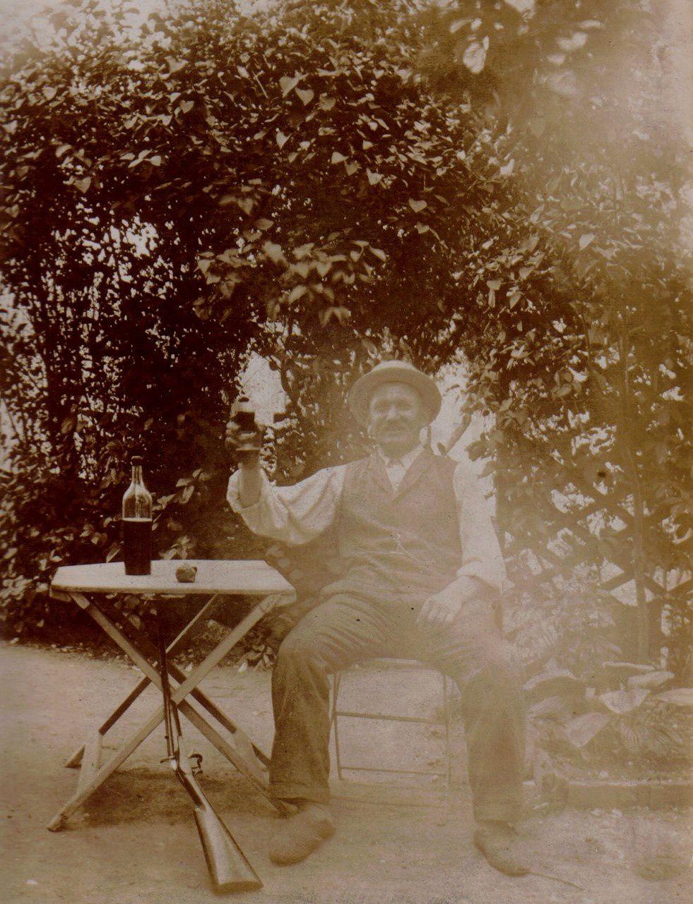 """Eugène Mozer en 1908 - anotée """"A votre santé"""""""