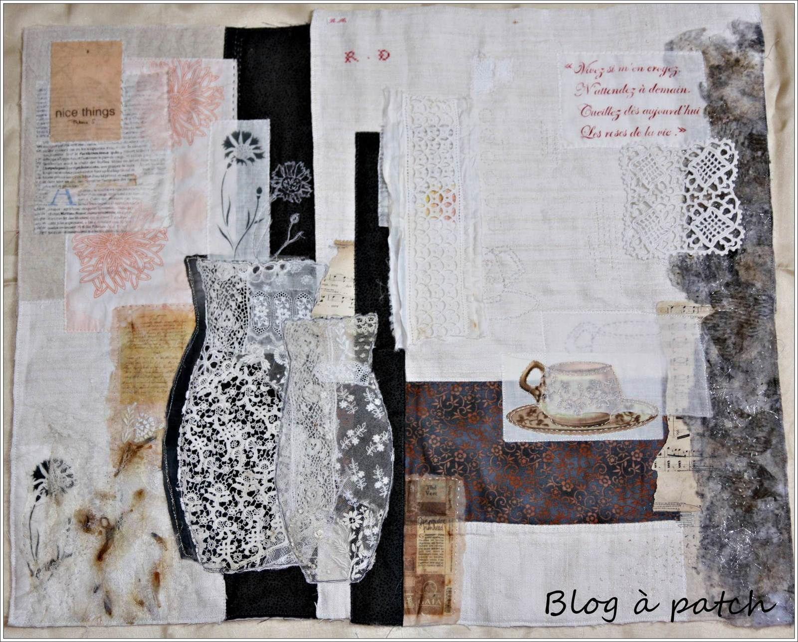 Collage textile, tissus, papiers et dentelles.