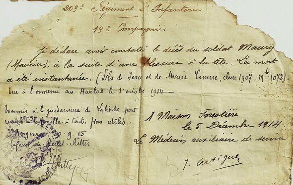 Déclaration de décès établi par le médecin auxiliaire du 209e R.I..