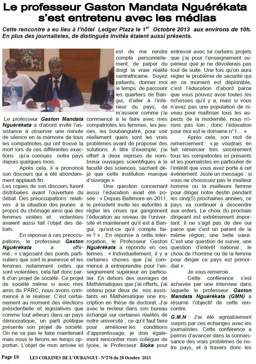 Le Pr Gaston N'Guérékata veut relancer la RCA à partir d'un partenariat gagnant-gagnant avec le Congo Brazza