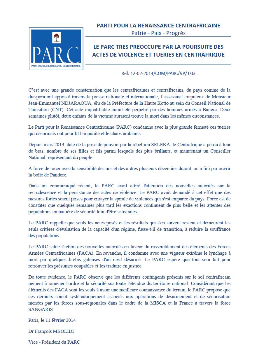Le PARC très préoccupé par la poursuite des actes de violence et tueries en Centrafrique