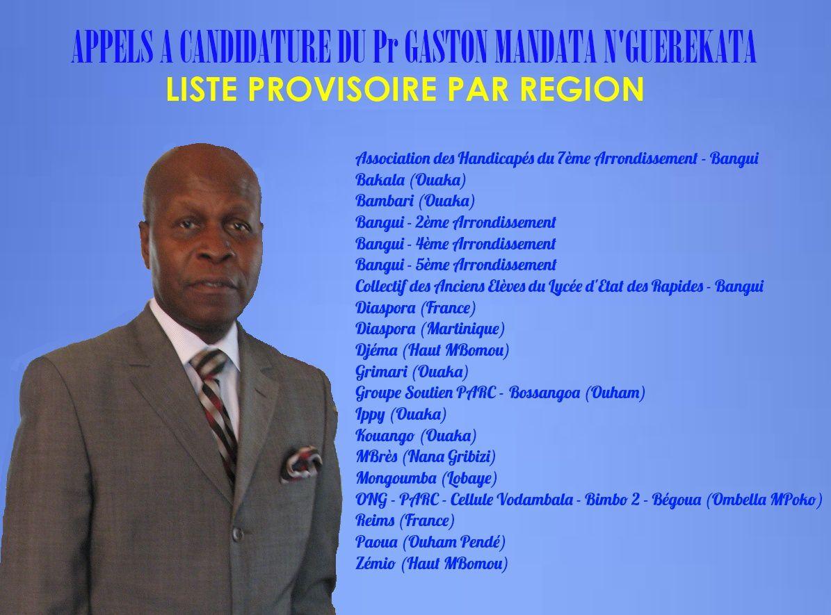 Appels à candidature du Pr N'Guérékata - Liste provisoire