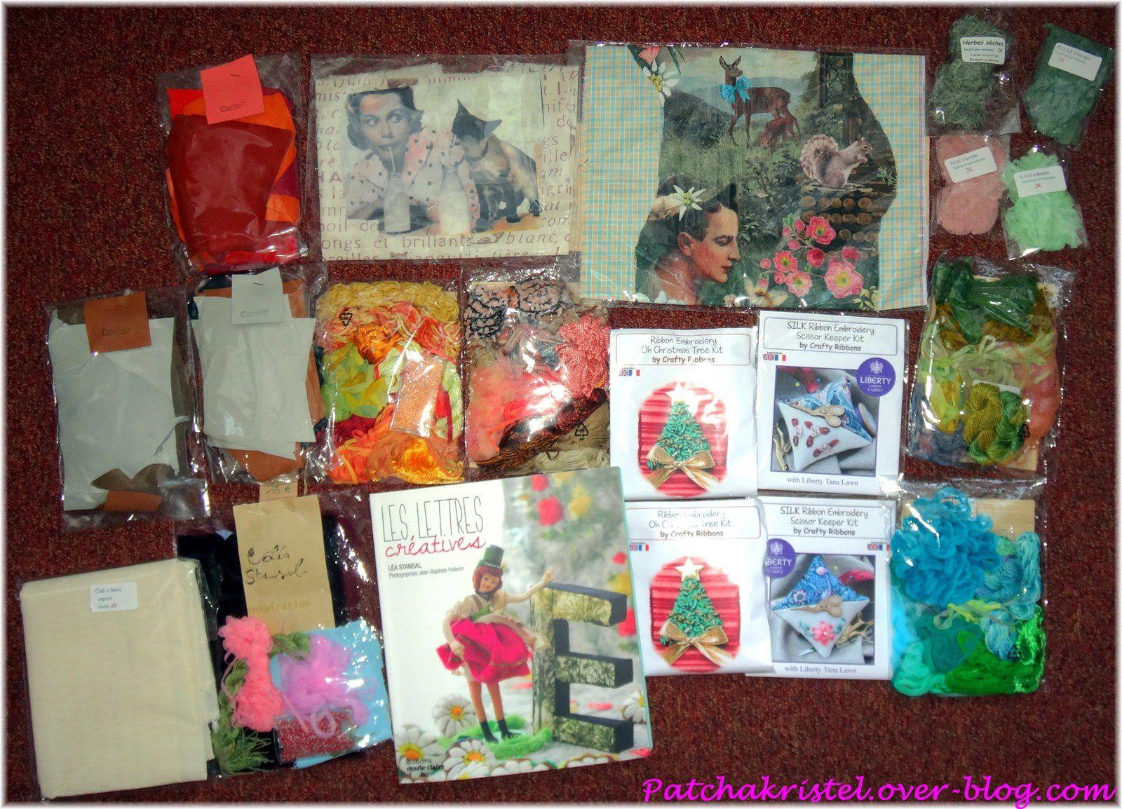 CSF - kits Léa Stansal ainsi que son livre, kits de broderies au ruban, chutes de cuirs