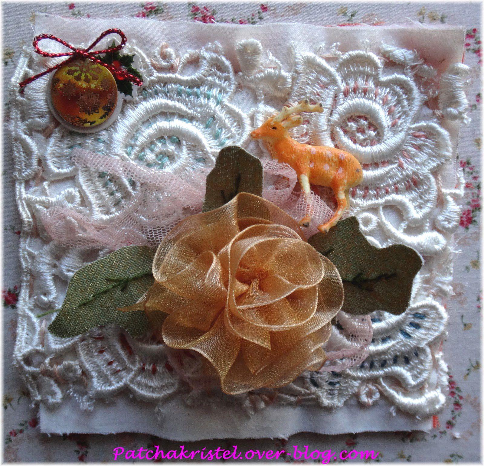 carré de noël 17 - quiltmania patchwork - fleur vintage