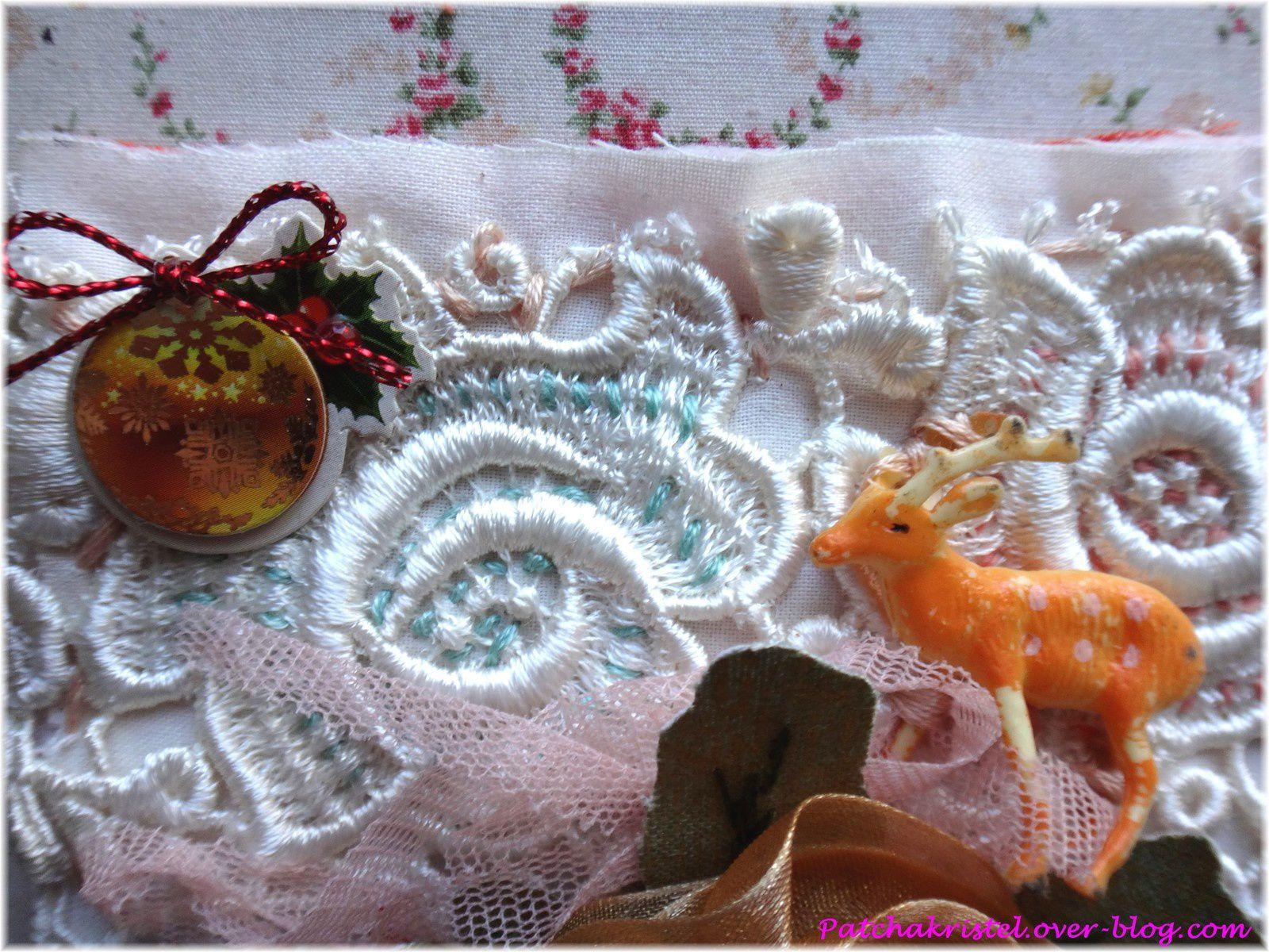 carré de noël 17 - quiltmania patchwork - fleur vintage - zoom 1