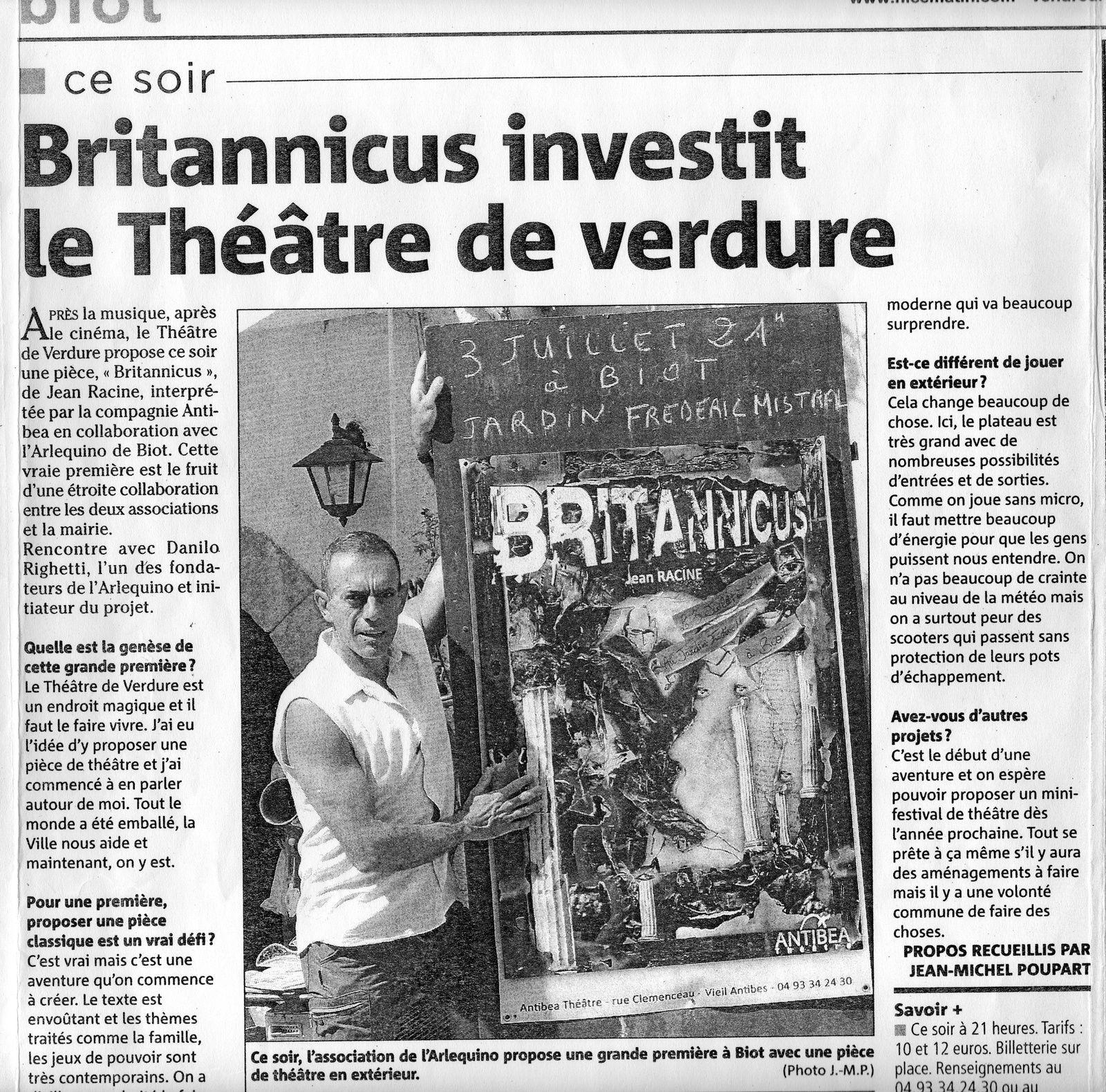 BRITANNICUS investit le Théâtre de verdure