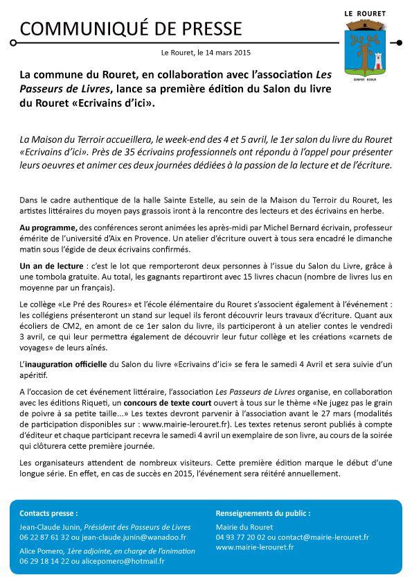 Salon du Livre le Rouret - 4-5 Avril 2015
