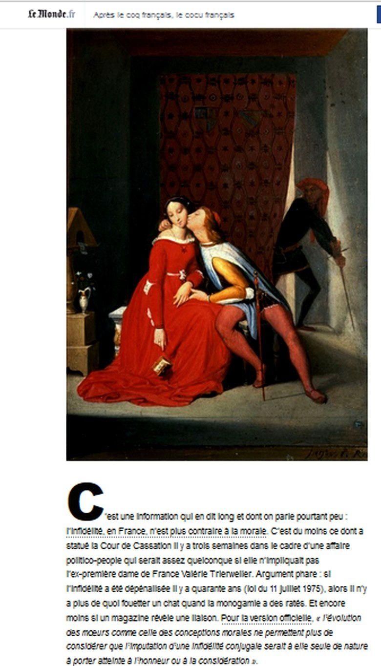 Revue de presse : Journal Le Monde : de là à parler de cocu content...