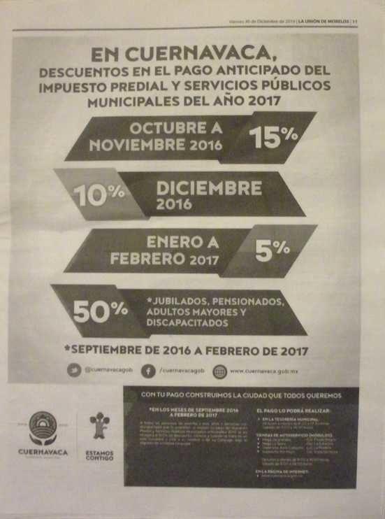 Réductions pour paiement anticipé des impôts à Cuerna