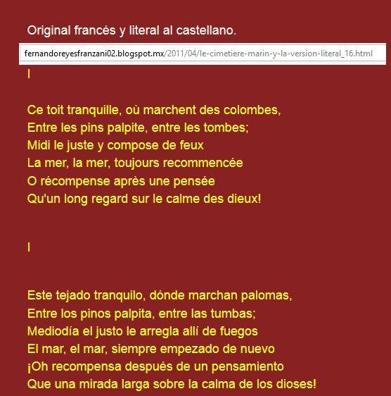 Le Cimetière Marin en espagnol