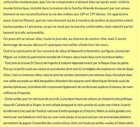 Cet article récapitulatif sur San Miguel : Un lien entre ce petit journal et Mexico-Accueil !