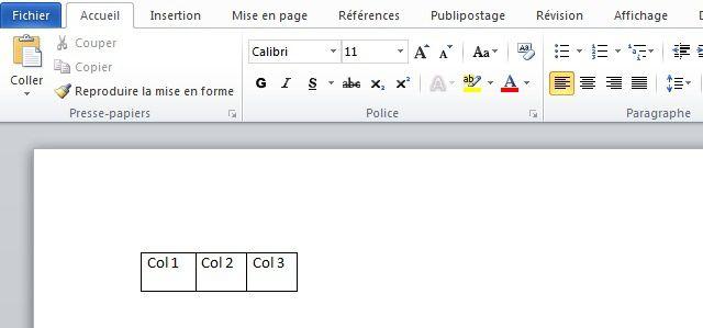 Créer un tableau sous Word avec les touches du clavier