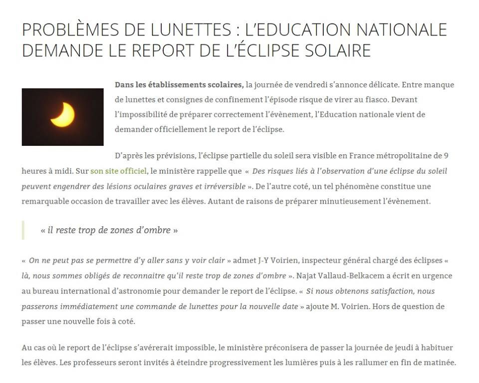 Position de l'éducation nationale face à l'éclipse (mdr)