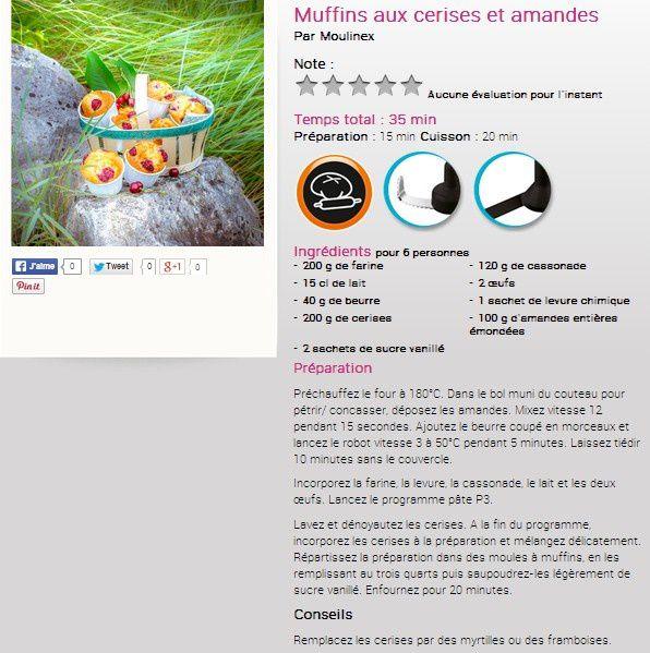 Nouvelle recette companion moulinex : Muffins aux cerises et amandes