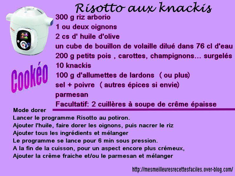 Risotto aux knackis et lardons au cook o mes meilleures recettes faciles - Recette de noel au cookeo ...