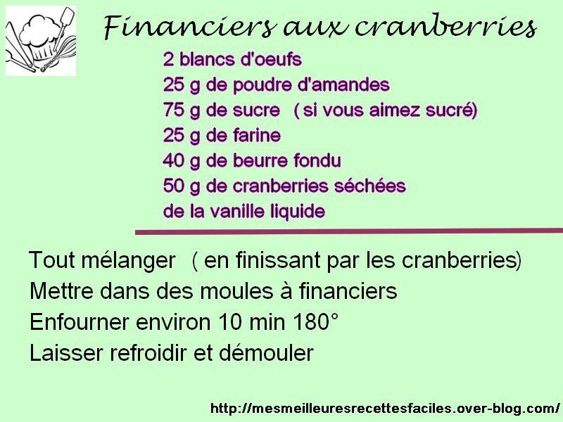Recette financiers aux cranberries