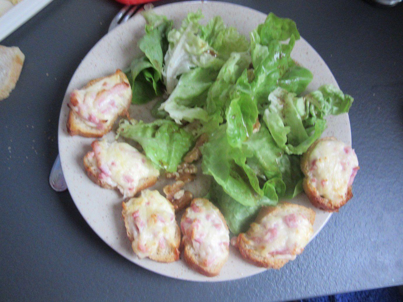 Tartines jambon crème fraiche gruyère