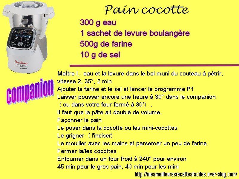 Pain cocotte au companion moulinex