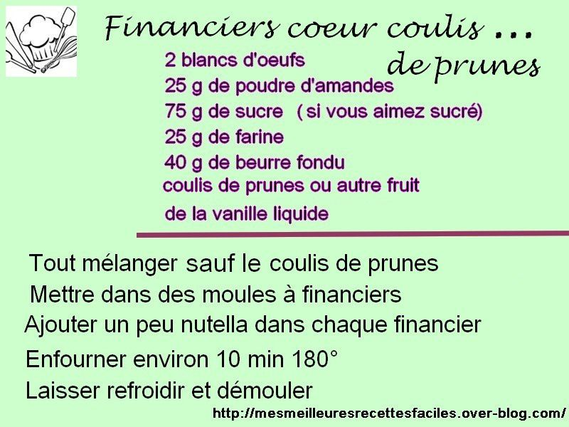 Financiers coeur coulis de prunes (ou autre fruit)
