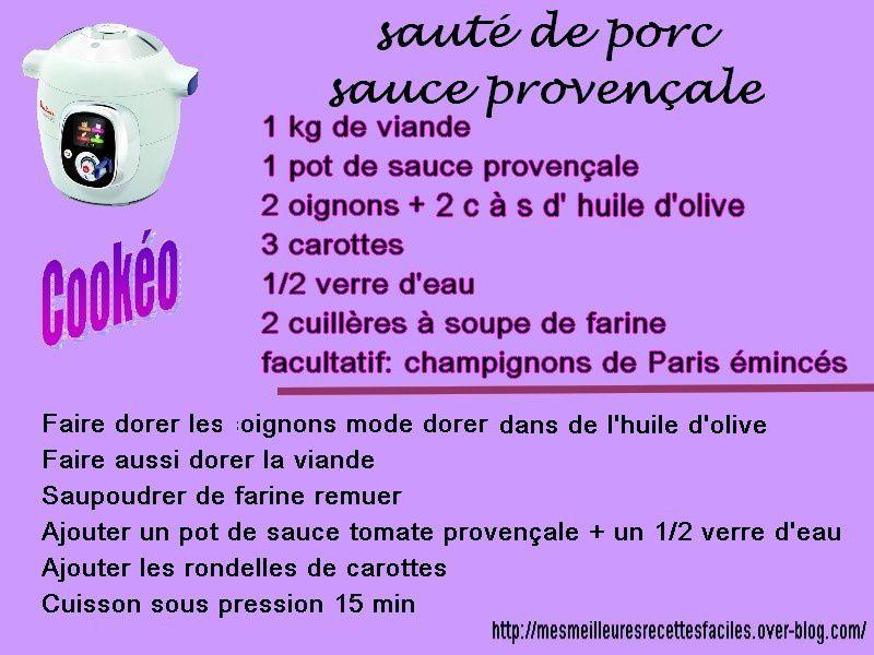 Sauté de porc sauce provençale express au cookéo