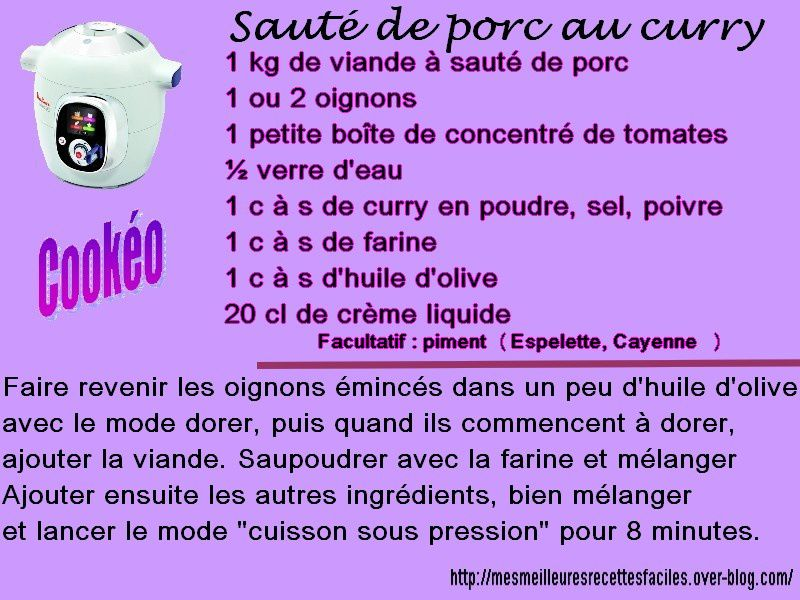 Sauté de porc au curry au cookéo
