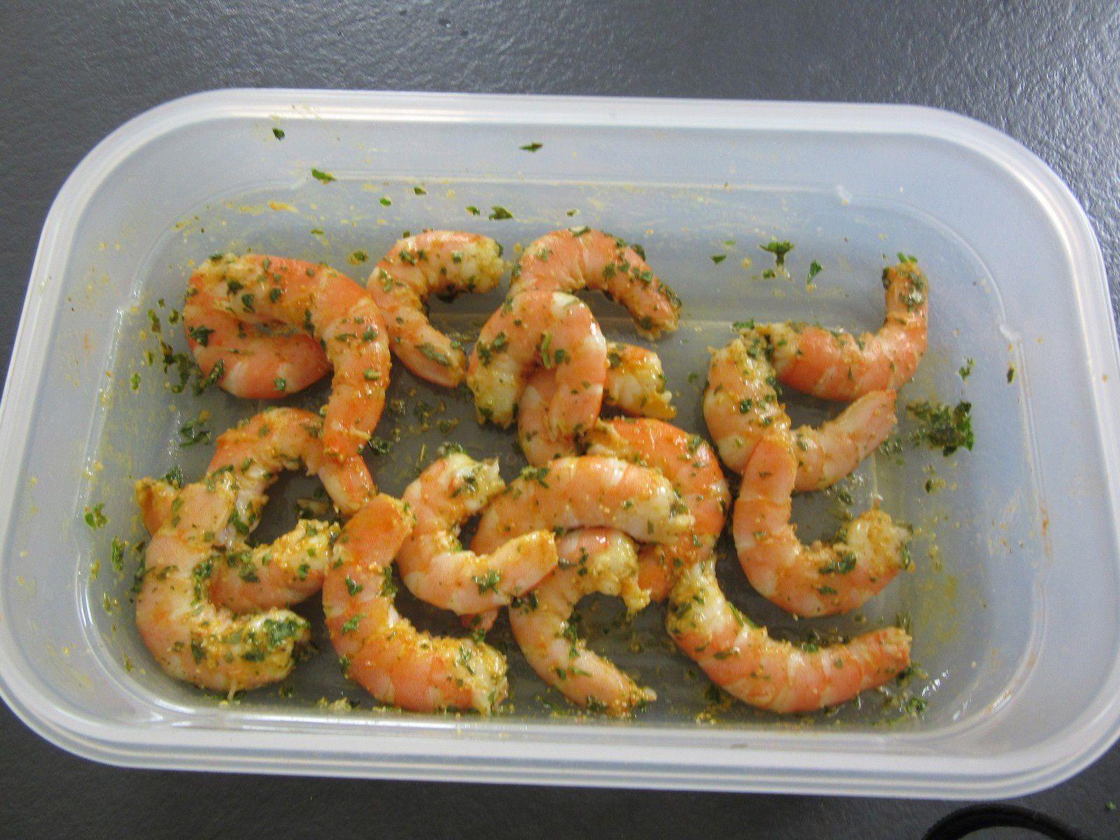 Brochettes de crevettes marinées (optigrill , barbecue, plancha...)