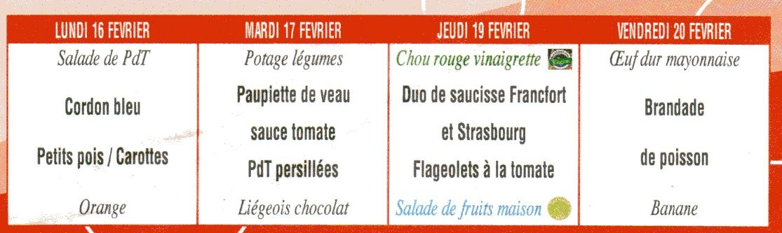 Couleurs au menu