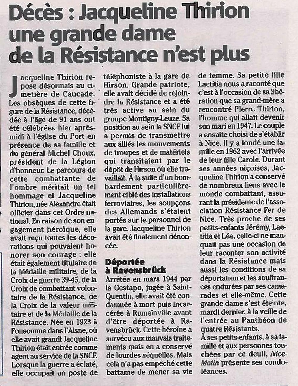 Extrait de Nice-Matin du 30 mai 2015
