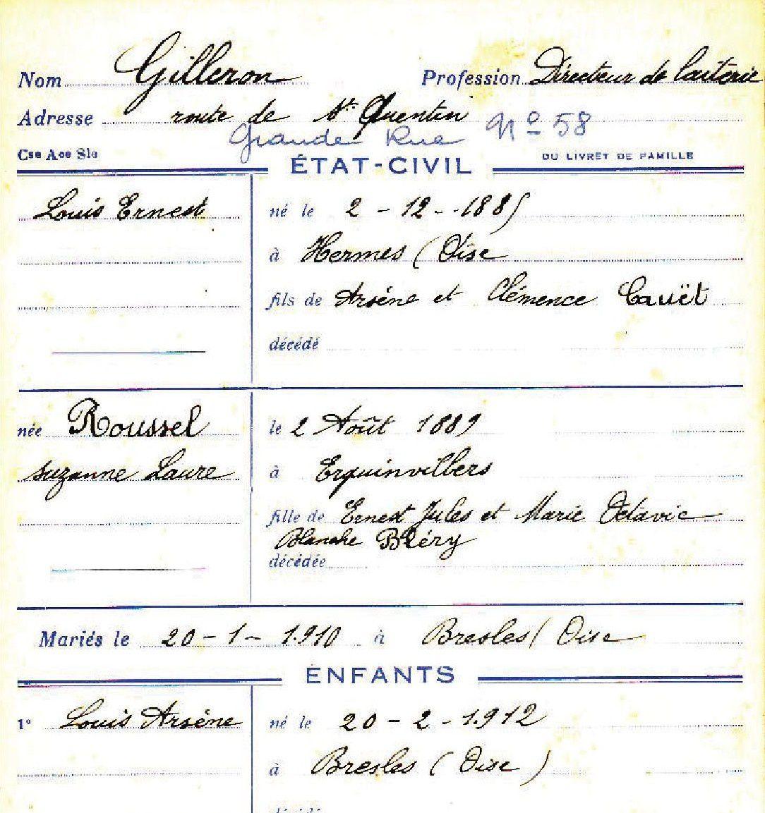 Ernest GILLERON, maire et directeur de la laiterie