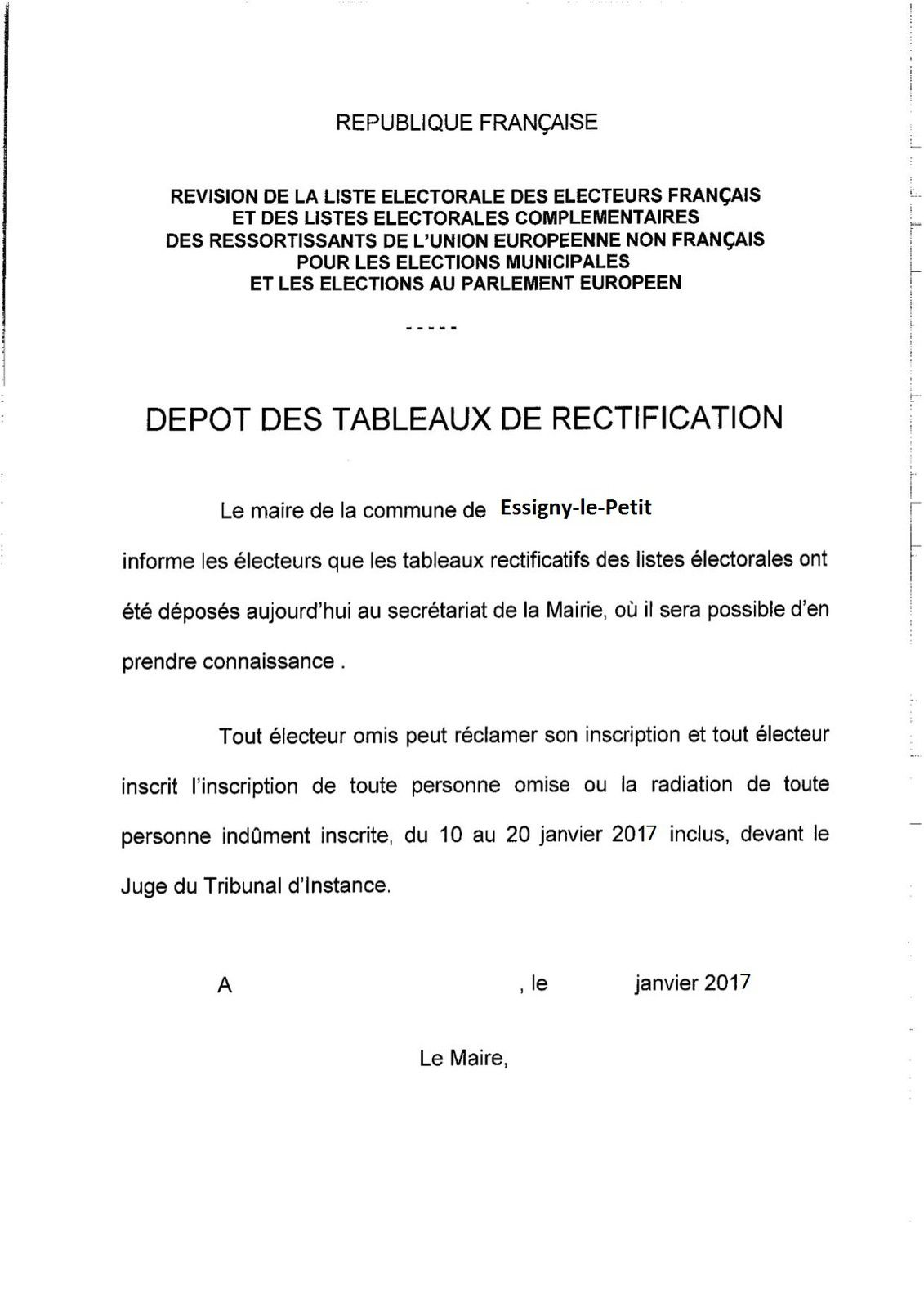 Modèle du document