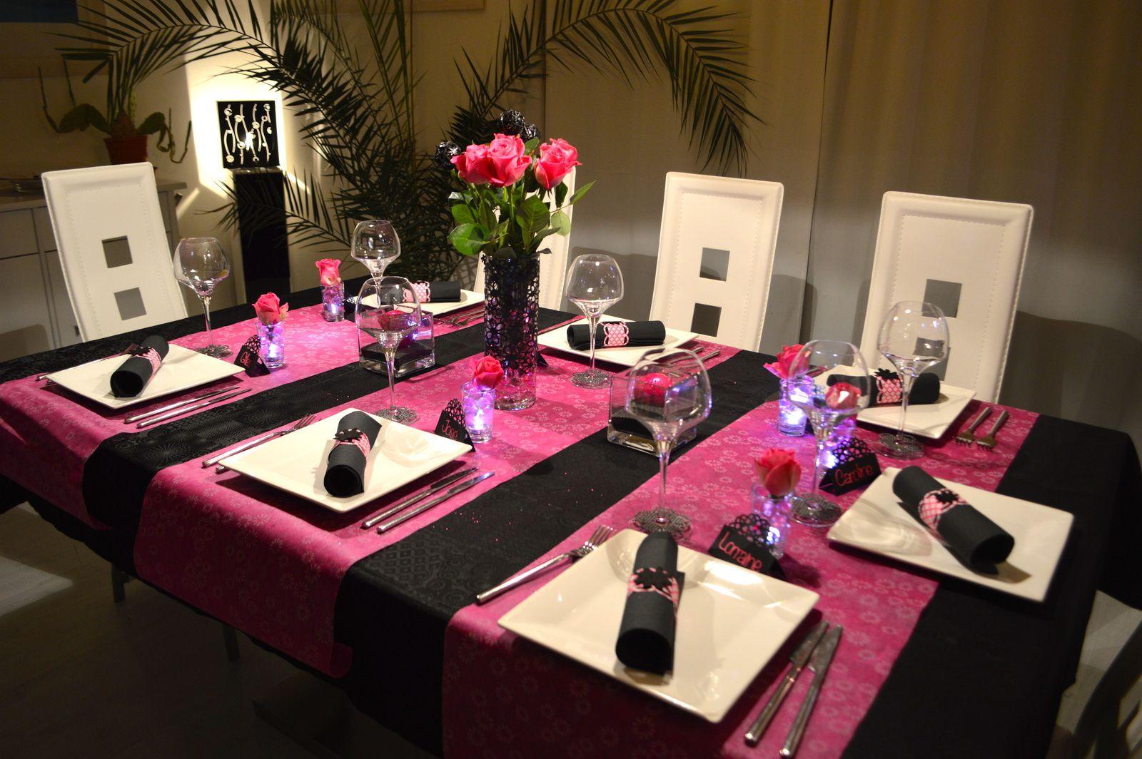 Déco de table Fushia et Noir